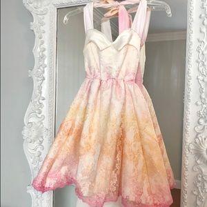 PIXIE Pastel Ombre Mini Lace Halter Dress
